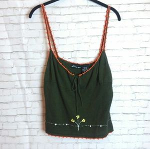[NWT + VINTAGE!] 90's knit green embroidered tank